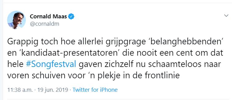 Cornald Maas Tweet Songfestival 2020