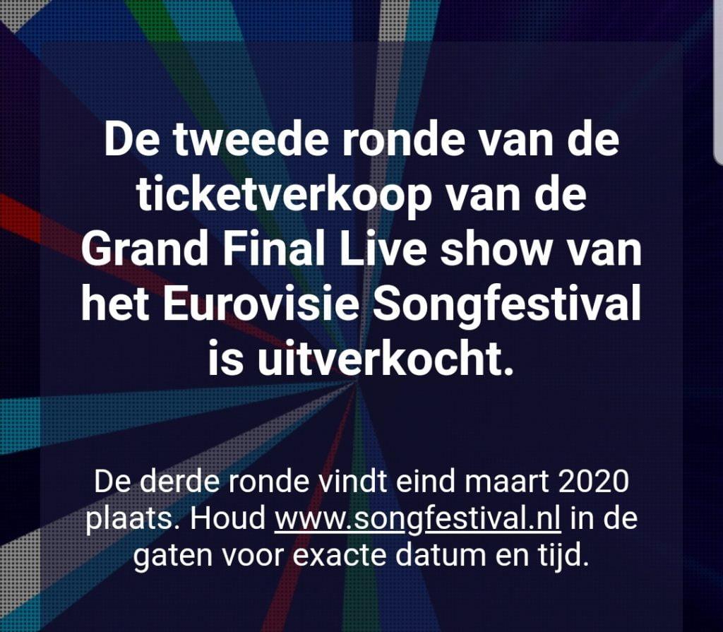 Songfestivaltickets tweede ronde uitverkocht