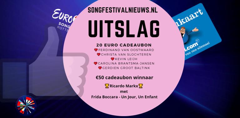 Uitslag winactie SongfestivalnieuwsNL