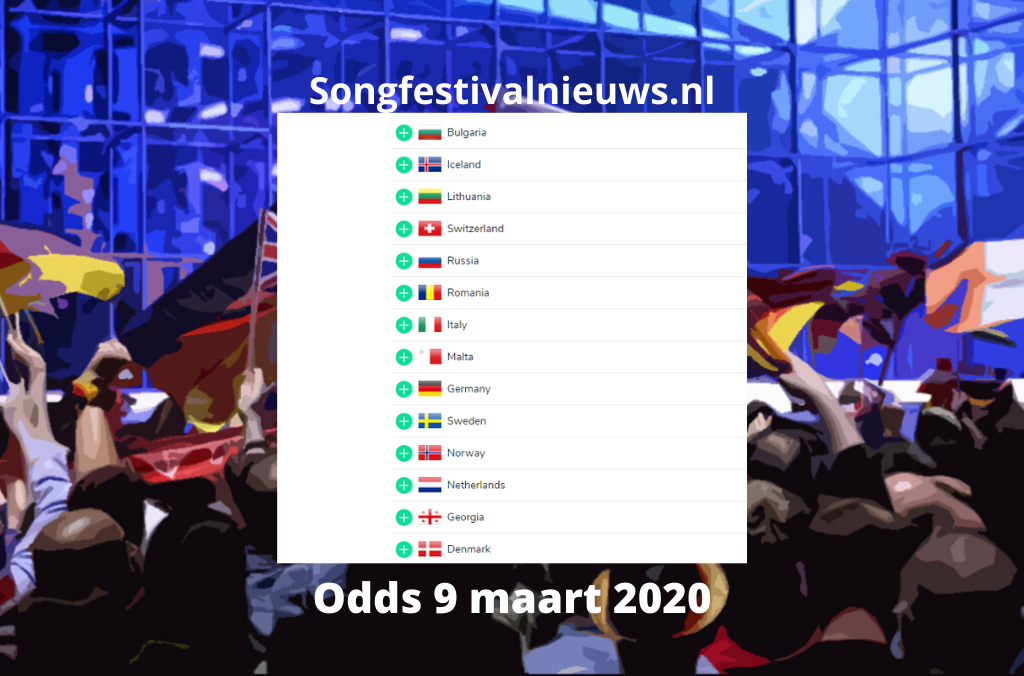Songfestival odds bookmakers 9 maart